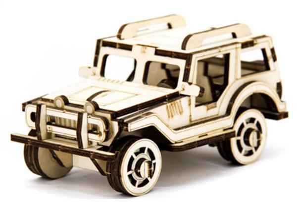 Механический деревянный 3D пазл SUNROZ Автомобиль Джип 45 эл. (SUN1742)