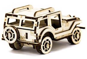 Механический деревянный 3D пазл SUNROZ Автомобиль Джип 45 эл. (SUN1742), фото 2