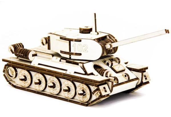 Механический деревянный 3D пазл SUNROZ Танк T-34 127 эл. (SUN1750)