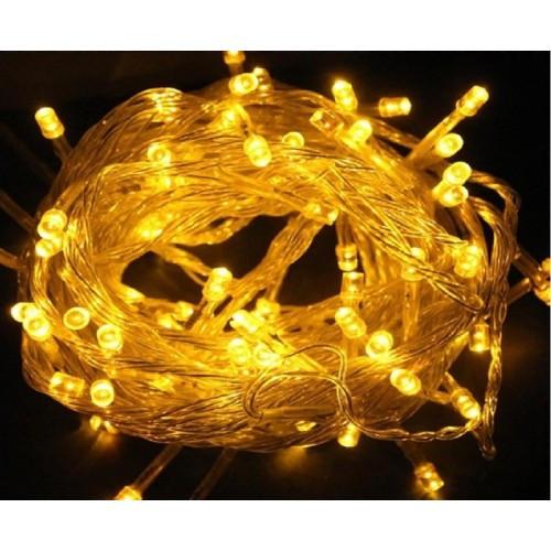 Гирлянда светодиодная 200 ламп (LED) жёлтая черный провод