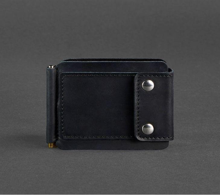 Зажим, портмоне для денег натуральная кожа Crazy Horse, черный BN-PM-10-g-kr