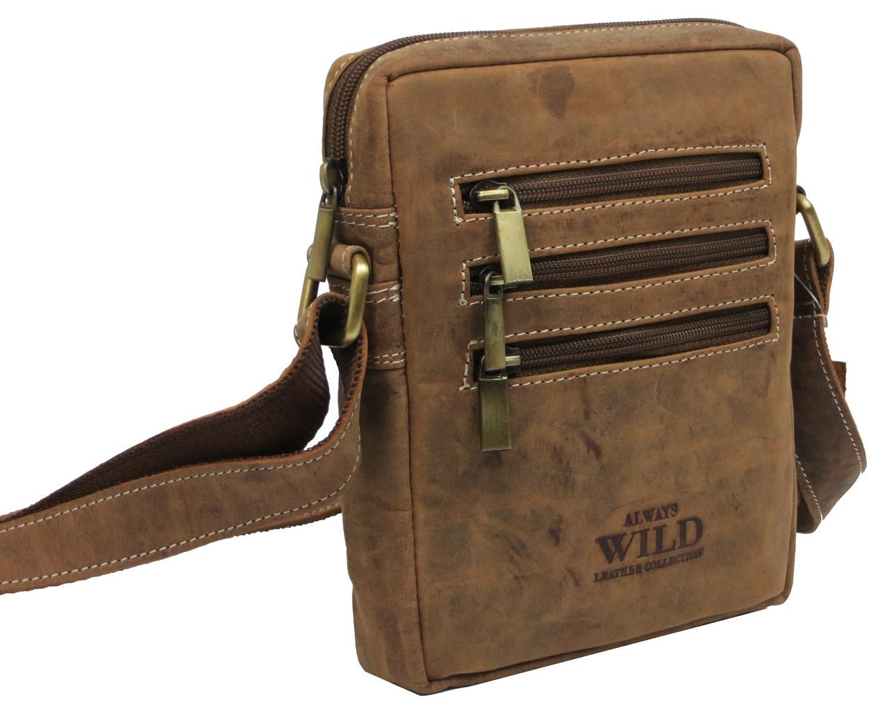 04fe5aee97ea Небольшая кожаная сумка-барсетка Always Wild 250MH коричневая ...