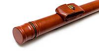 Тубус для кия с карманом на замке коричневый гладкий, фото 1