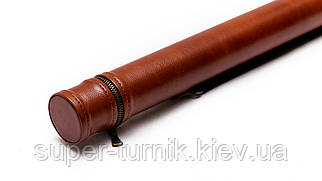 Тубус для кия без кармана коричневый гладкий