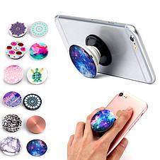 Универсальный держатель-подставка для телефона PopSockets (Ноу-хау крепление на крышку смартфона ПопСокетс)С74, фото 2