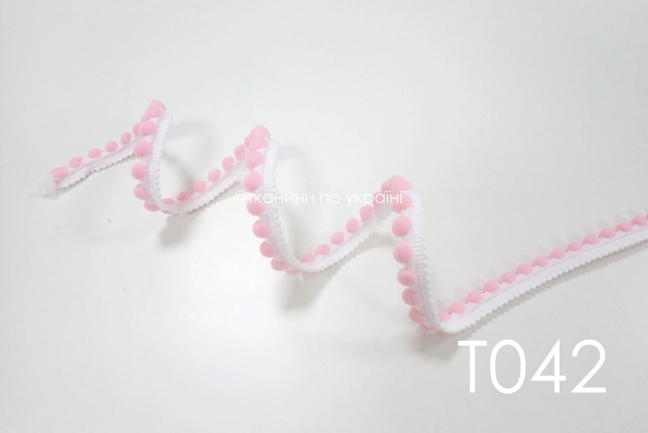 Тесьма белая с розовыми вставками 12 мм (Т042)