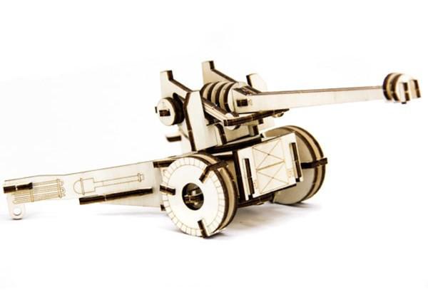 Механический деревянный 3D пазл SUNROZ Пушка 49 эл. (SUN1749)