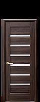 Межкомнатная дверь  Линнея ПВХ DeLuxe с матовым стеклом,цвет каштан