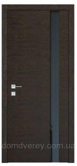 Двери межкомнатные, Родос, Modern, Flat, полустекло, триплекс черный