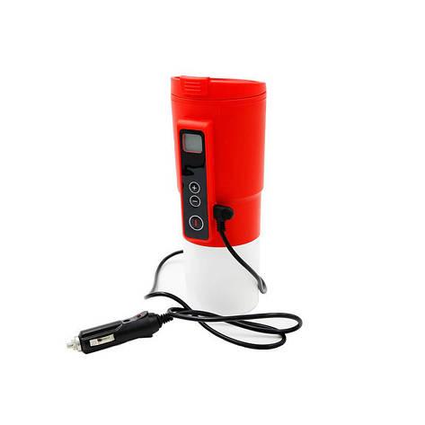 Автомобільна смарт-термокружка SUNROZ Smart Mug з підігрівом і контролем температури 380 мл Червона, фото 2