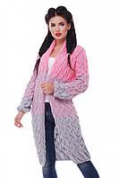 """Модный женский вязаный кардиган оверсайз разноцветный в косичку """"LOLO M"""" Светло-серый/Розовый"""