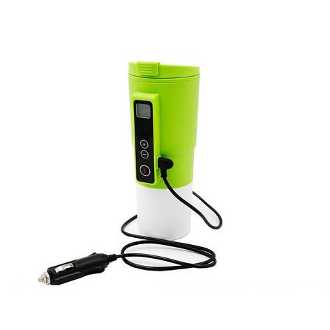 Автомобільна смарт-термокружка SUNROZ Smart Mug з підігрівом і контролем температури 410 мл Зелена, фото 2