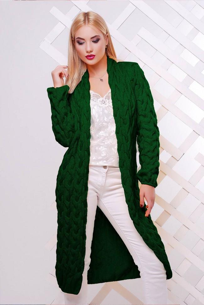 """Жіночий в'язаний довгий кардиган оверсайз у фактурну косичку """"LOLO"""" зелений"""