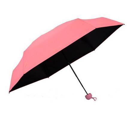 Зонт складной SUNROZ Pill Box Umbrella универсальный карманный мини зонтик в футляре капсула Розовый (SUN1295), фото 2