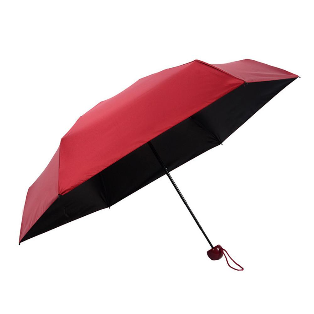 Зонт складной SUNROZ Pill Box Umbrella универсальный карманный мини зонтик в футляре капсула Красный (SUN1296)