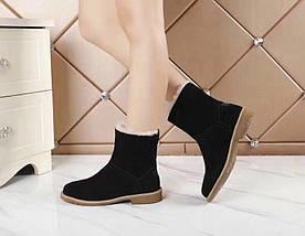 Женские замшевые зимние ботинки UGG черные , фото 3