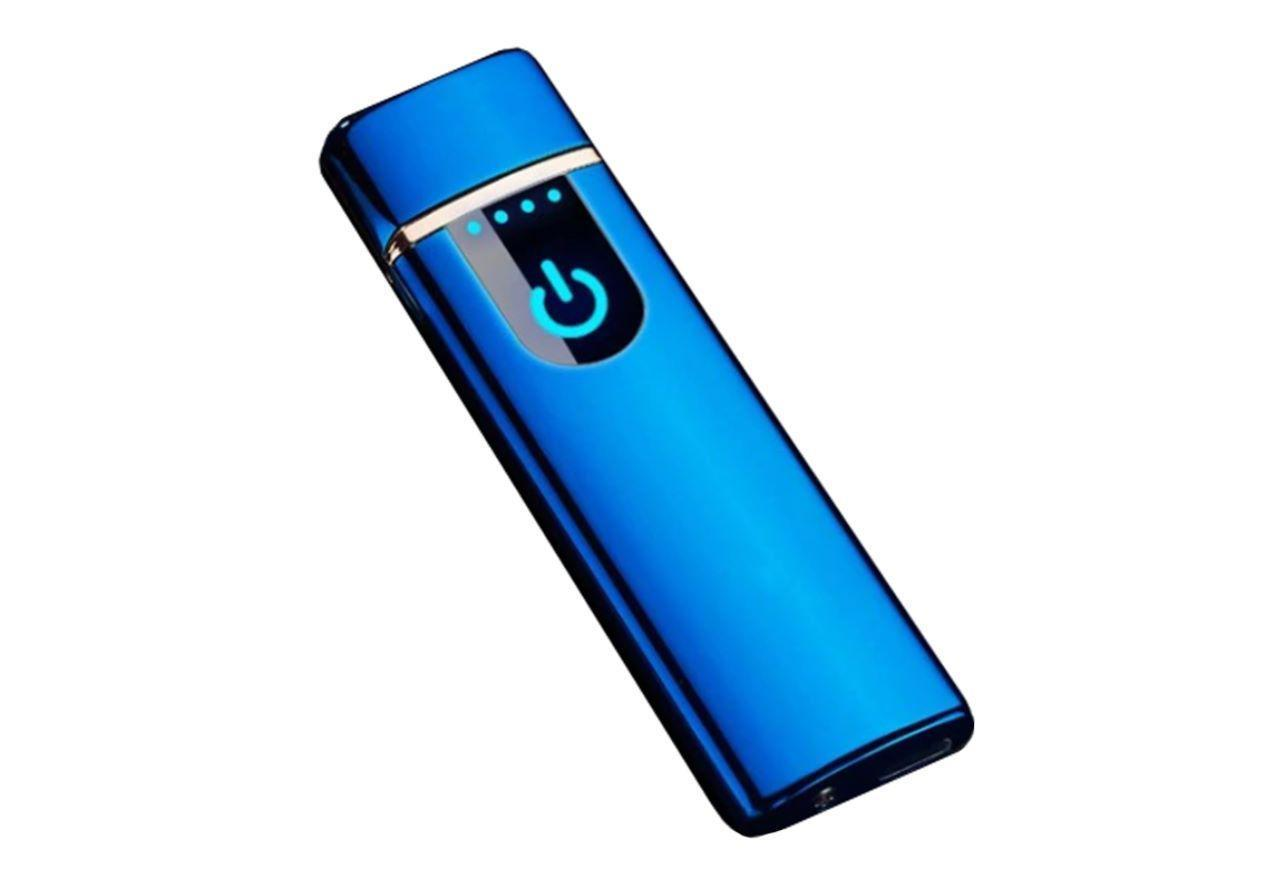 Электроимпульсная зажигалка SUNROZ TH-752 портативная электронная аккумуляторная USB зажигалка Синий