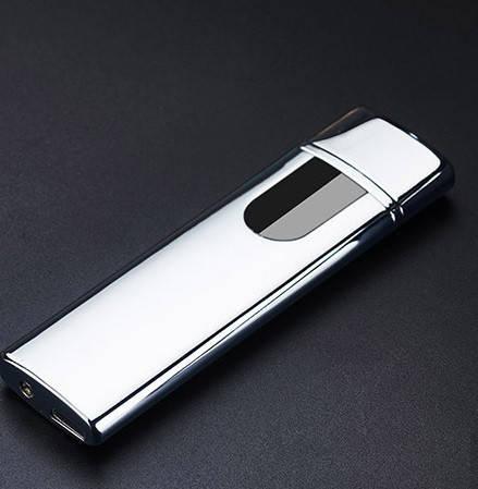 Электроимпульсная зажигалка SUNROZ TH-752 портативная электронная USB зажигалка Серебристая, фото 2