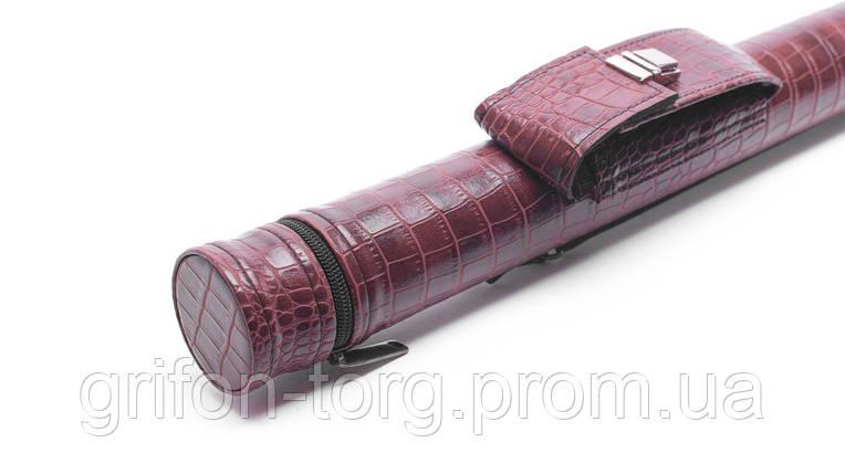 Тубус для кия з кишенею на замку коричневий крокодил, фото 2