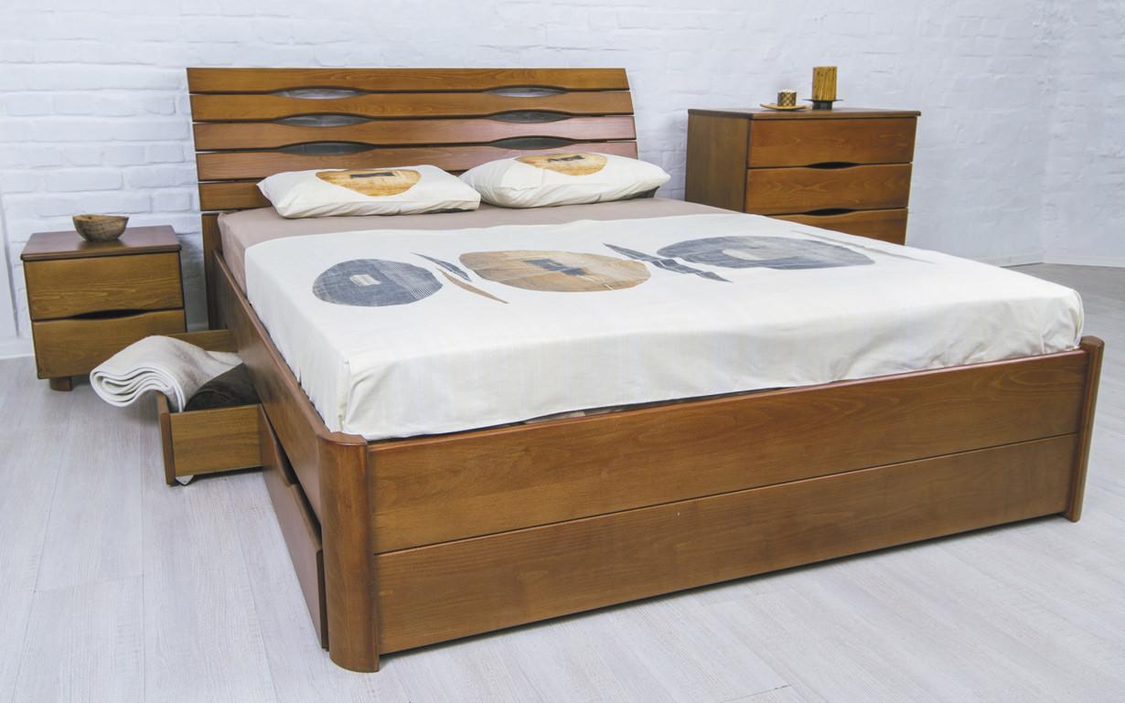 Деревянная кровать Марита Люкс с ящиками 120х190 см. Аурель (Олимп)