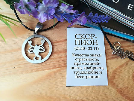 Знак зодиака Скорпион из нержавеющей стали, фото 2