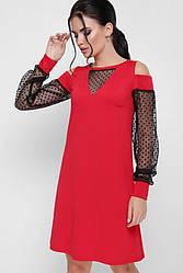 746bcc6c185 Вечернее короткое красное платье с рукавами из сетки в горошек и разрезами  на плечах