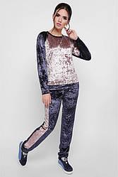 """Стильный женский велюровый спортивный костюм свитшот и брюки """"Sheinez"""" графит-капучино"""