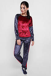"""Модный женский спортивный костюм из велюра свитшот и штаны """"Sheinez"""" графит-марсала"""