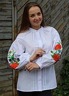 Белая батистовая вышиванка в цветы