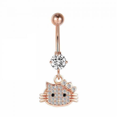 Серьга в пупок с нежной подвеской hello kitty с кристаллами Swarovski