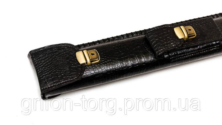 Колчан для кия с карманом черный крокодил, фото 2
