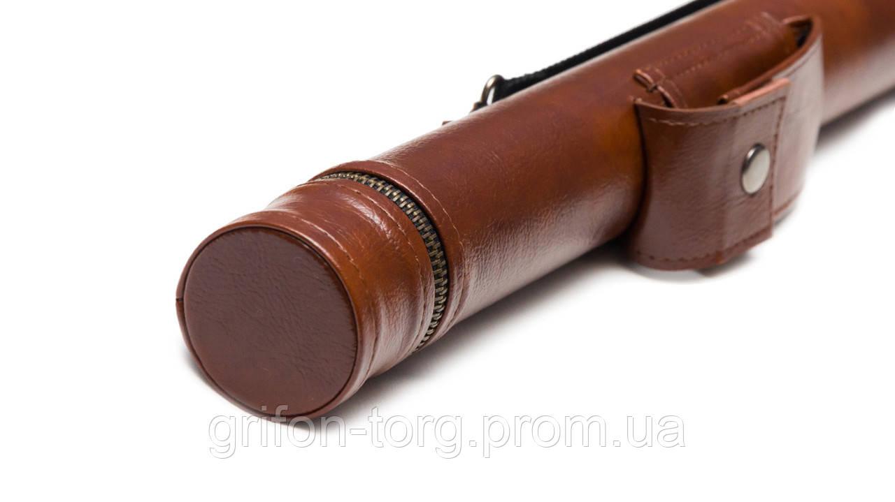 Тубус для кия с карманом на кнопке коричневый гладкий