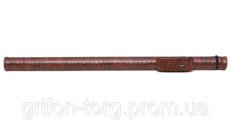Тубус для кия с карманом на кнопке коричневый крокодил, фото 2