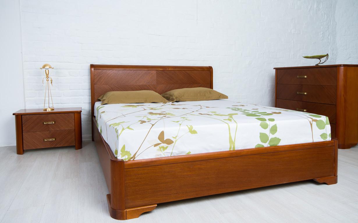 Деревянная кровать Милена с интарсией и механизмом 120х190 см. Аурель (Олимп)