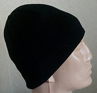 №10 - Зимняя вязаная шапка черная прямая.