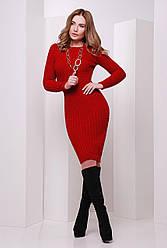 Классическое облегающее вязаное теплое платье миди в косичку красное