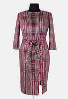 Модное женское платье с поясом 50-56 ( красный, коричневый )
