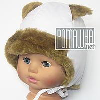 Детская зимняя термо шапка р. 42-44 с утеплителем на подкладке с завязками верх плащевка 4526 Белый