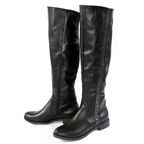Ботфорты женские черные кожаные зимние на низком ходу