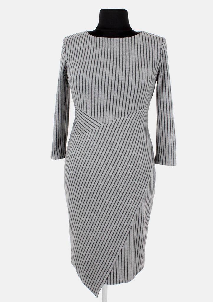 Теплое платье в полоску 46-52 р