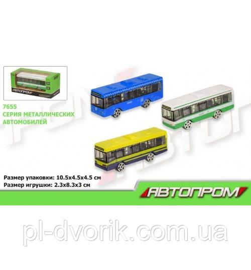 """Автобус Металл 7655 (216шт/4) """"АВТОПРОМ"""",1:64 ИКАРУС,В Кор.10*4,5*4,5см"""