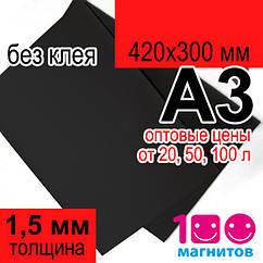 Магнітний вініл в аркушах формату А3, без клейового шару. Товщина 1,5 мм