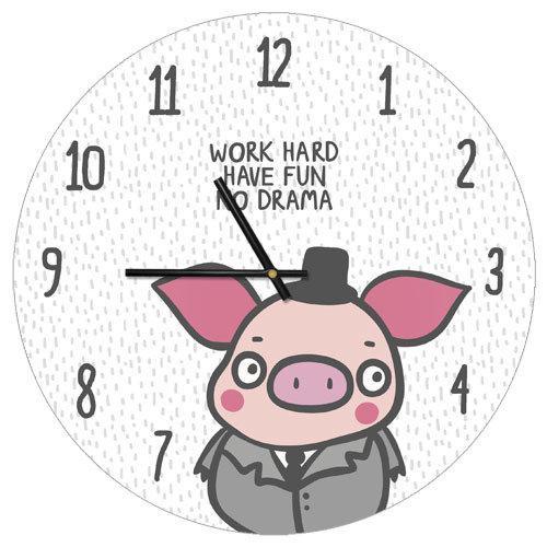 Часы настенные круглые Work hard have fun no drama 36 см (CHR_P_PIG009)