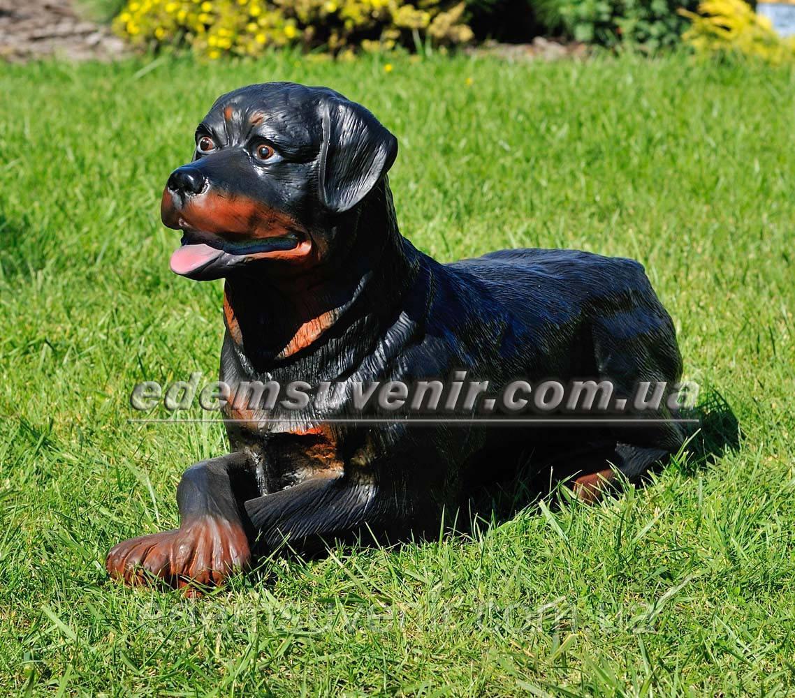 Садовая фигура собака Ротвейлер лежачий