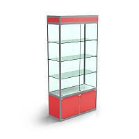 Торговая витрина с накопителем, 1000х2000х300, задняя стенка стекло