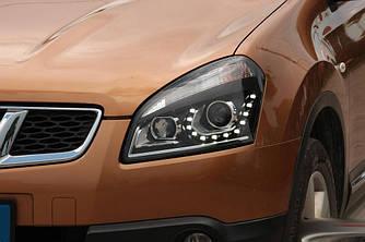 Передние фары Nissan Qashqai J10 (06-09) тюнинг Led оптика
