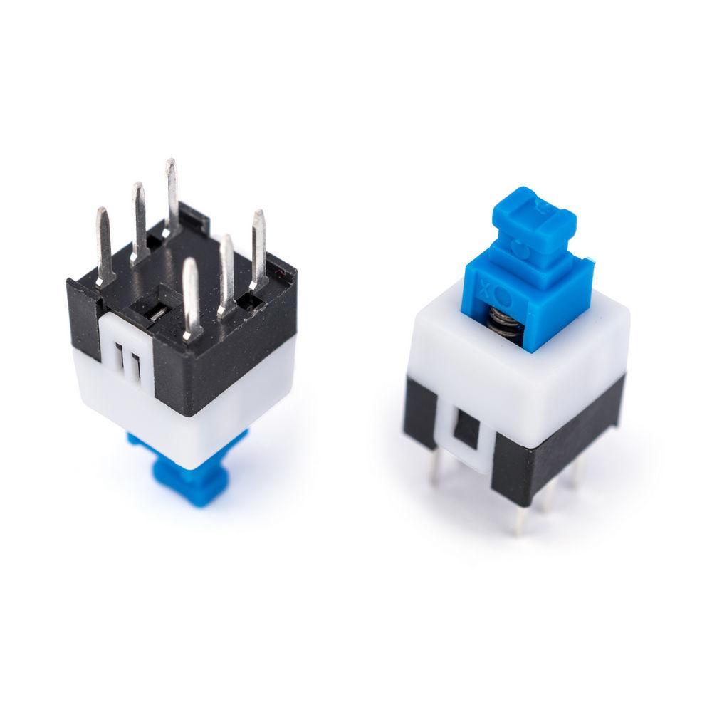 Кнопка с фиксацией мини синяя (бело\синяя)  5х 5