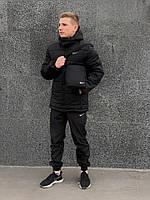 Зимняя черная мужская спортивная куртка Nike (Барсетка в подарок при заказе комплекта!), фото 1