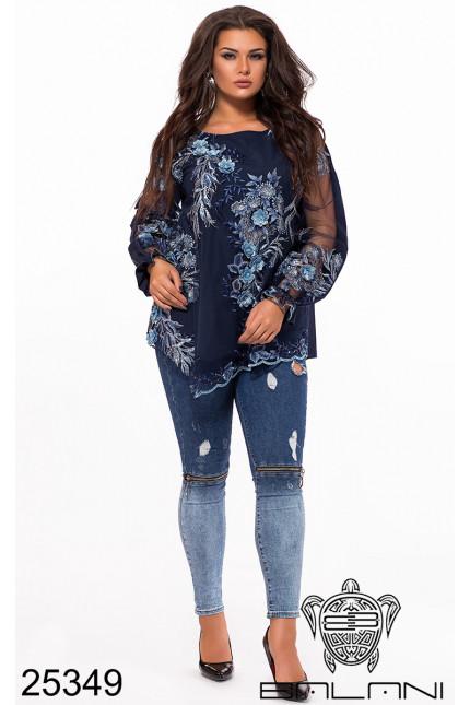 009016d467e Нарядная праздничная блуза сетка кружево с блеском недорого от  производителя Одесса Balani батал