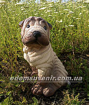 Садовая фигура собака Шарпей сидячий, фото 3